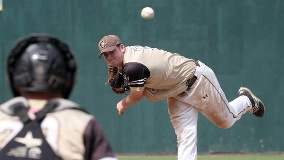 Clarkstown South pitcher Kieran Finnegan pitches Mamaroneck