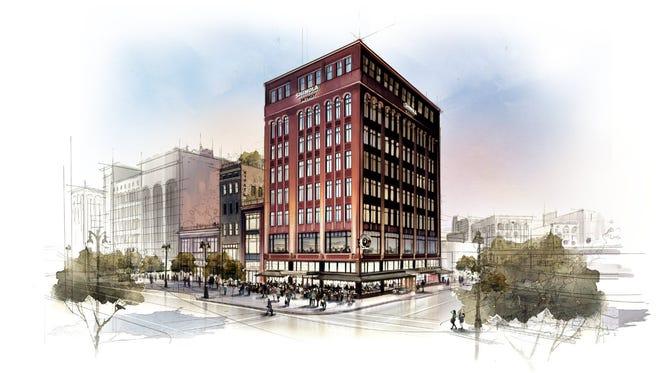 Rendering of Shinola Hotel, scheduled to open in Detroit in 2018.