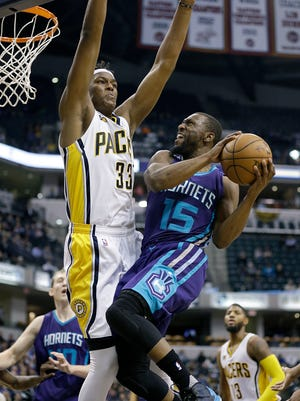 Indiana Pacers center Myles Turner (33)  defends the shot by Charlotte Hornets guard Kemba Walker (15) in the second half of their game Monday, December 12, 2016, evening at Bankers Life Fieldhouse. The Indiana Pacers defeated the Charlotte Hornets 110-94.