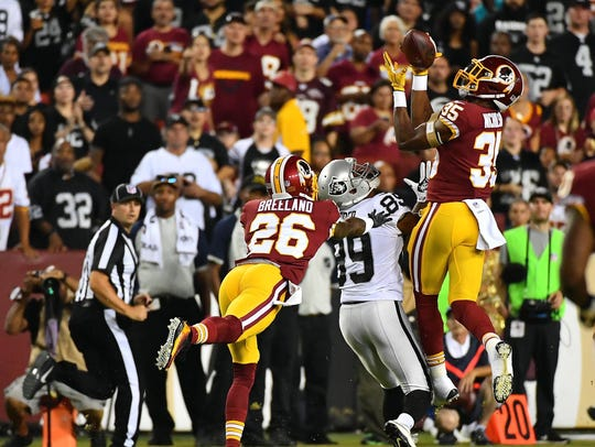 The Redskins' rookie safety picked off a Derek Carr