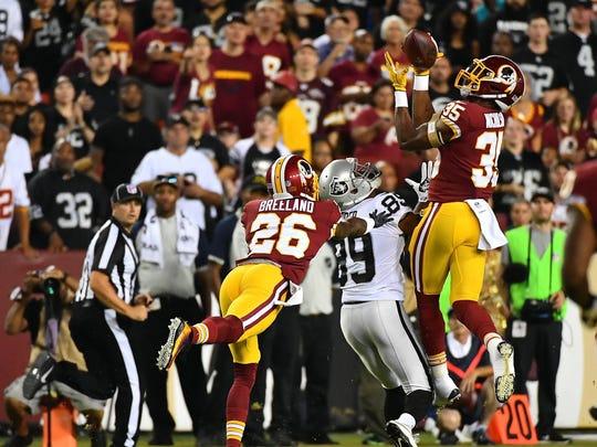 The Redskins' rookie safety picked off a Derek Carr