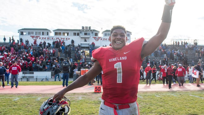 Vineland quarterback Isaih Pacheco (1) will play the final game of his scholastic football career on Thursday.