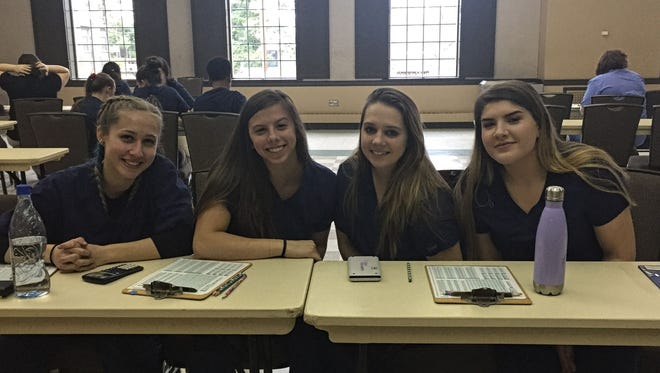 Left to right are Hunterdon County Polytech animal science students: Eve Cronin, Sam Gervasi, Molly Shanahan and Shay Fleming.