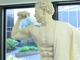 A sculpture of legendary bodybuilder Eugen Landow featured
