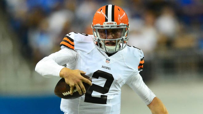 Cleveland Browns quarterback Johnny Manziel (2) runs the ball during the third quarter against the Detroit Lions at Ford Field.