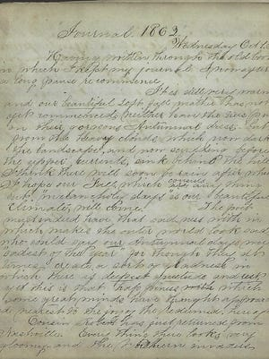Pages from the Civil War diary of Eleanora Willauer.