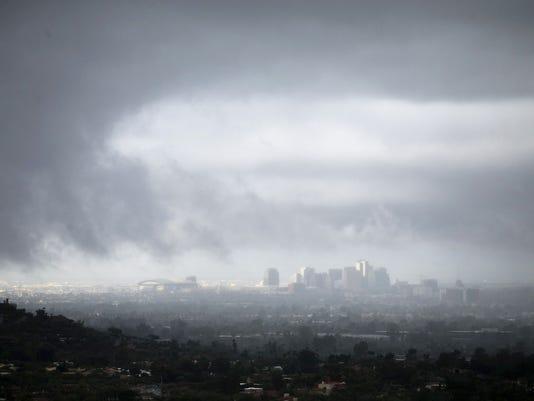 Rain in downtown Phoenix