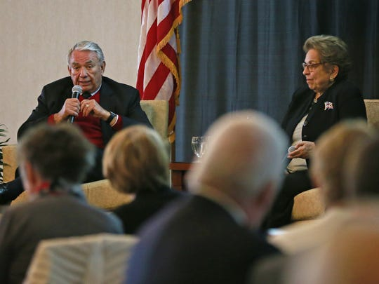 Former Gov. Tommy Thompson, left, and Donna Shalala, former Health and Human Services Secretary under President Bill Clinton, speak during the 10th anniversary celebration of the Wisconsin Institute for Public Policy and Service.