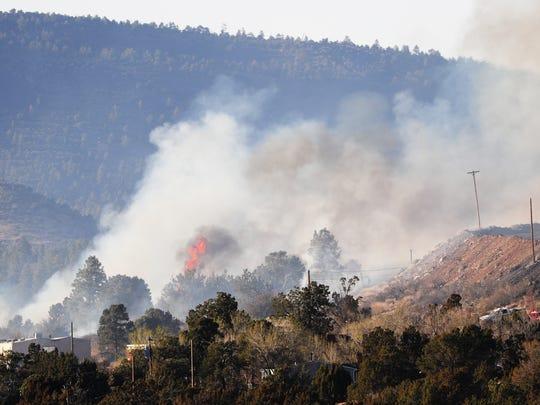 A fire burns in Winona, Ariz. April 8, 2018.