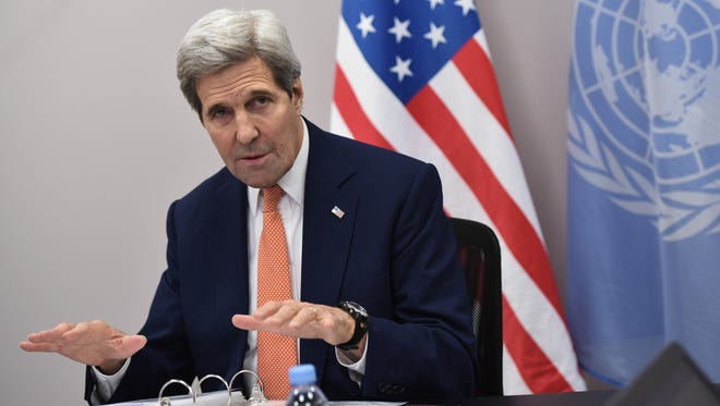US Secretary of State John Kerry speaks following the United Nations conference on climate change in France last month.