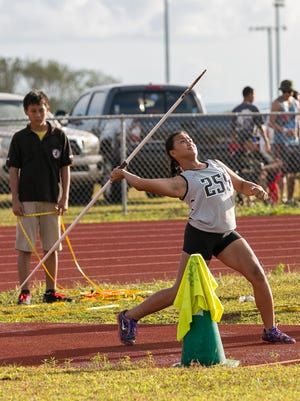 Students compete at the Javelin Event during the IIAAG Track and Field League All-Island meet at Okkodo High School on May 29. Rudy Capistrano/For Pacific Daily News
