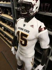 A look at the white ASU football Adidas uniform.