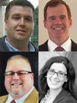 2015 Spring Grove school board candidates shown, top row from left, Brent Hoschar and Dave Trettle. Bottom row from left, Douglas White and Rachel Rohrbaugh. Not shown are Douglas Stein and Matthew Jansen.