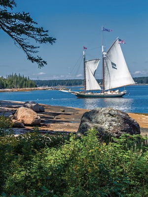 The schooner Ladona takes passengers on a windjamming tour off the coast of Maine.