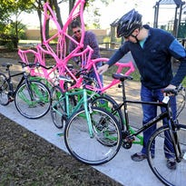"""Artist Anice Doak, whose """"Bicycle Copse"""" is included in the database as part of the bicycle racks sculpture project in 2013 and 2014, says that she sees """"the larger purpose (of ExploreNashvilleArt.com) as curatorial; it's as if the works themselves are issuing an invitation to visit when I'm in the area. The new site can help connect public art more firmly to the public, informing reactions and answering questions about the piece."""""""