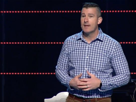 Andy Savage addressed Highpoint Church members Sunday.
