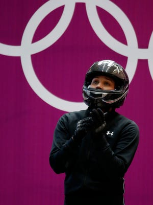 Lolo Jones during women's bobsleigh training in the Sochi 2014 Olympic Winter Games at Sanki Sliding Center on Friday.