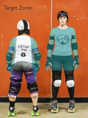 Like in football, there are rules for where and how you can hit a person in roller derby. The areas highlighted in blue are legal target areas. Hitting a player's back, head or below their thighs results in a penalty.
