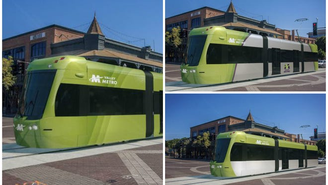 Valley Metro officials unveiled three paint options for the Tempe streetcar project. Residents can vote for their favorite at www.valleymetro.org through mid-May.