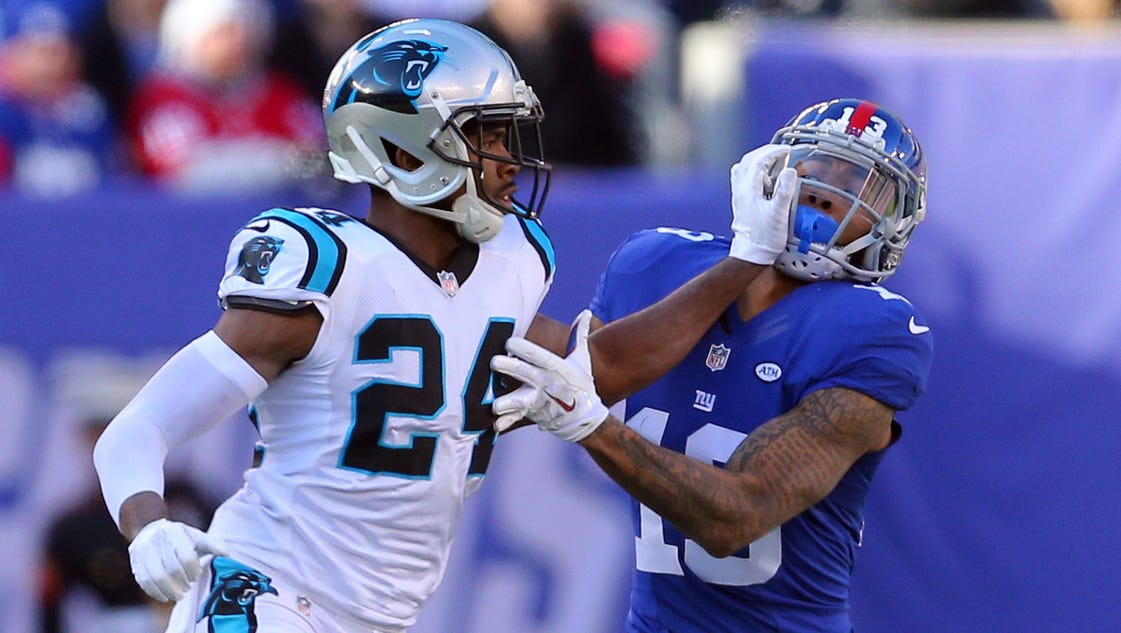 josh norman panthers hit back on odell beckham jr for heated play