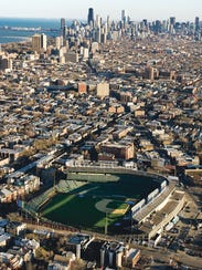 Aerial view of Wrigley Field, home of the Chicago Cubs.