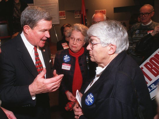 "In 1998, Sen. Christopher ""Kit"" Bond talked with Lorraine Biebel, after kicking off his re-election campaign in Springfield."
