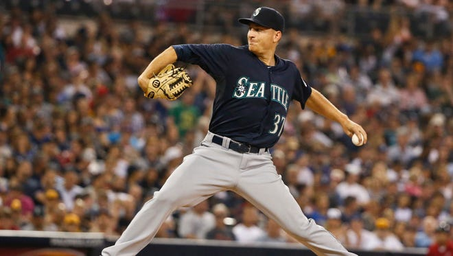 Seattle Mariners starting pitcher Mike Montgomery works against the San Diego Padres in the sixth inning of a baseball game Tuesday, June 30, 2015, in San Diego. Montgomery has not allowed a hit through six innings.