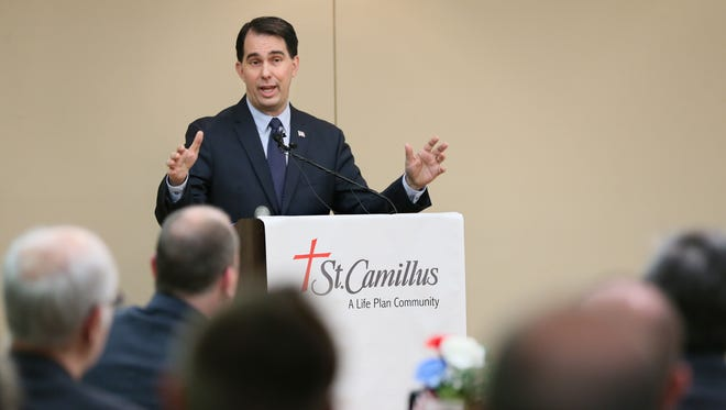 Wisconsin Gov. Scott Walker speaks at the San Camillo Retirement Community to a joint gathering of both of Wauwatosa's Rotary Clubs.