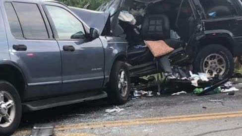 A head-on collision between a Ford Explorer, left, and a Jeep Grand Cherokee on Havens Corners Road in Jefferson Township on Saturday evening resulted in the death of a Licking County woman who was the driver of the Explorer. A Pataskala man who was the driver of the Grand Cherokee was hospitalized in critical condition.