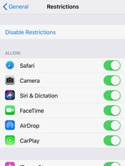 iPhone Restrictions are found in Settings.