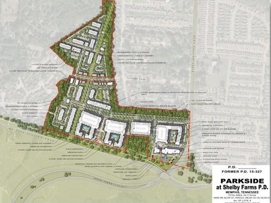 The boundaries of Parkside at Shelby Farms resemble