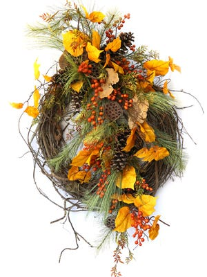 Fall wreath, $130, Celebrations.