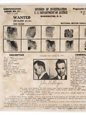 FBI wanted poster for John Dillinger, 1934
