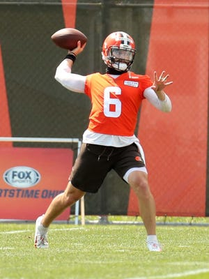 Browns quarterback Baker Mayfield throws during practice Friday at the training facility in Bereaa. Mayfield said he lost himself at times last season.