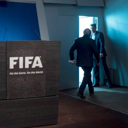 Sepp Blatter leaves after resigning from the FIFA presidency