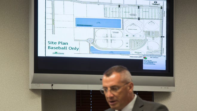 Site plans for a proposed spring training facility for the Atlanta Braves, a professional baseball team, can be seen during a Board of County Commissioners Meeting Tuesday, Dec. 13, 2016 in Naples.