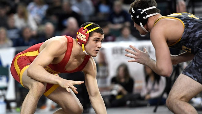 Bergen Catholic's Chris Foca, left, faces St. John Vianney's Nicholas Caracappa the 170-pound semifinal bout during the NJSIAA wrestling championships in Atlantic City, NJ on Saturday, March 3, 2018. Foca advances onto the final.