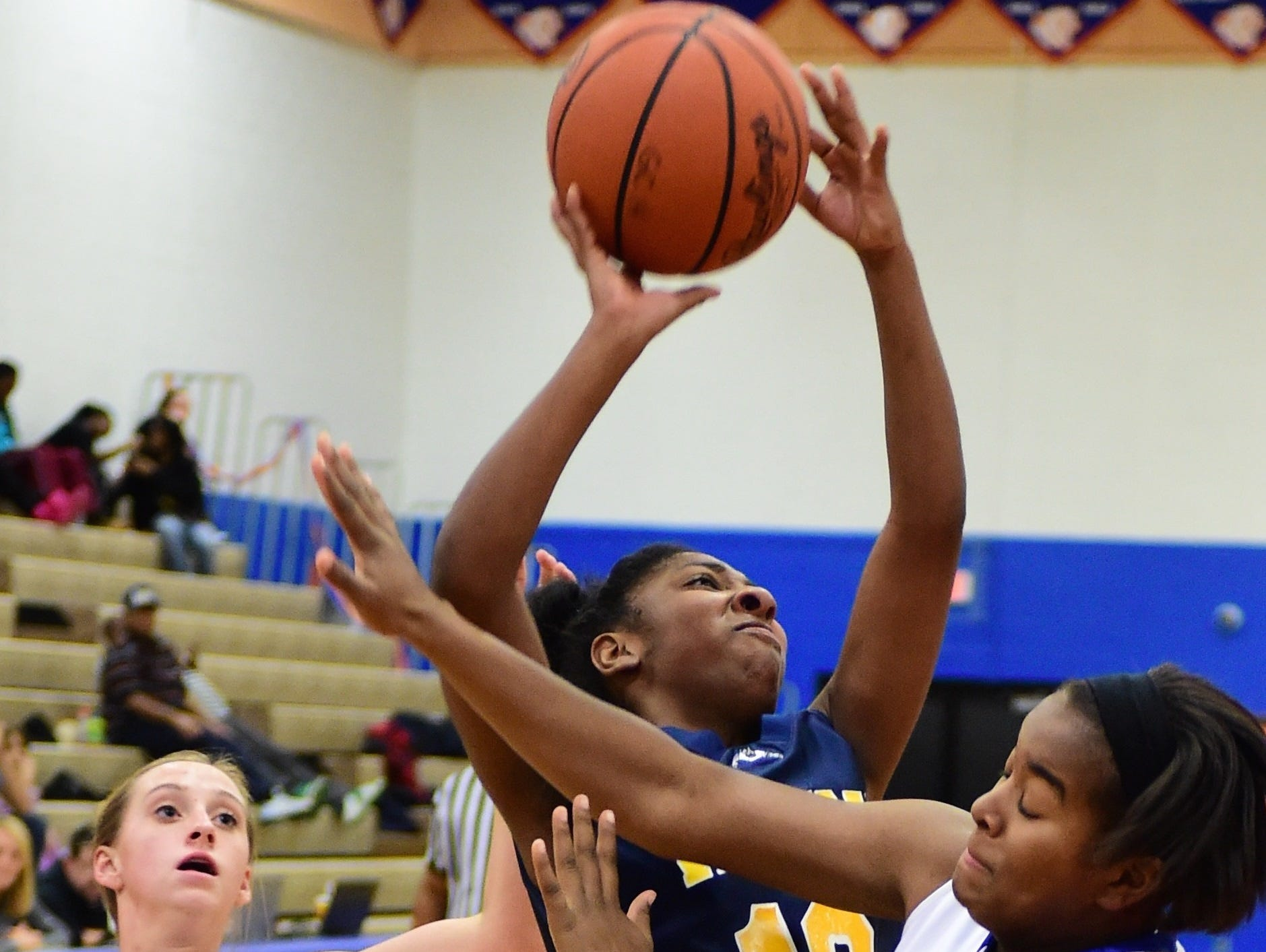 Wayne's Adrianna Gonzales drives hard to the hoop during a game against Garden City last season.