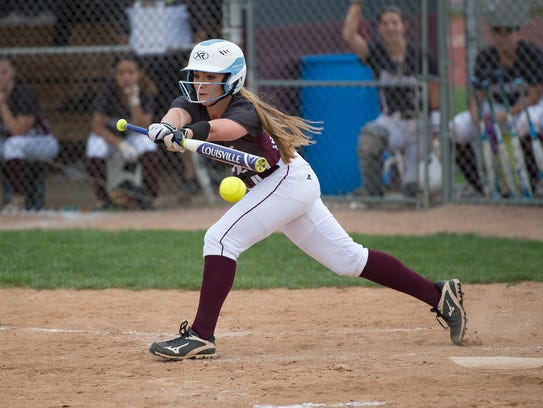 Shippensburg's Amber Orndorff bunts during a softball