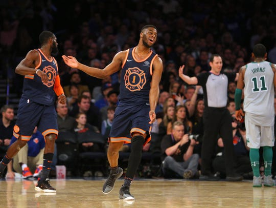 New York Knicks point guard Emmanuel Mudiay (1) reacts