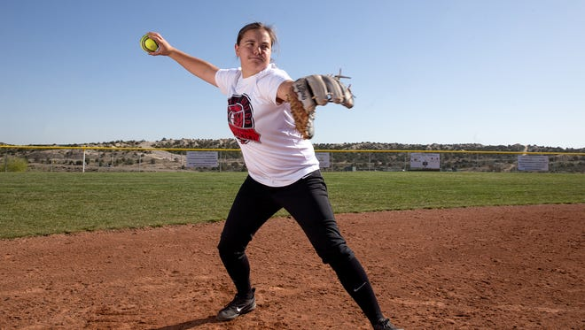 Aztec's CheyAnne Simkins poses for a portrait on Friday at the Aztec Tiger Sports Complex.