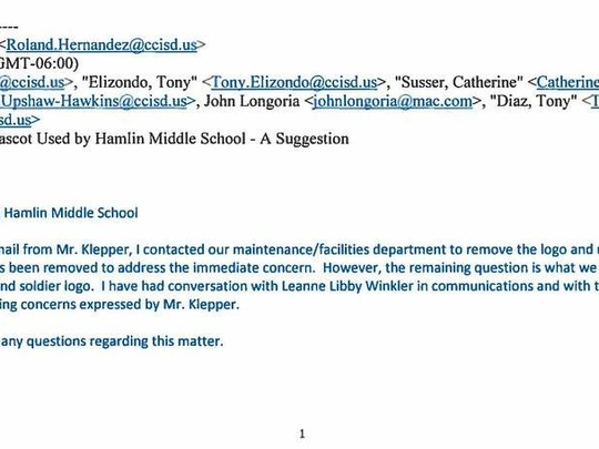An email sent to the Corpus Christi ISD school board Sept. 25 prompted district officials to scrap Hamlin Middle School's mascot and seek community input to find a replacement.