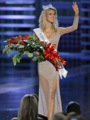 FILE -- Kirsten Haglund waves after being crowned Miss America 2008 during the Miss America Pageant at the Planet Hollywood hotel and casino in Las Vegas, Saturday, Jan. 26, 2008. (AP Photo/Jae C. Hong)