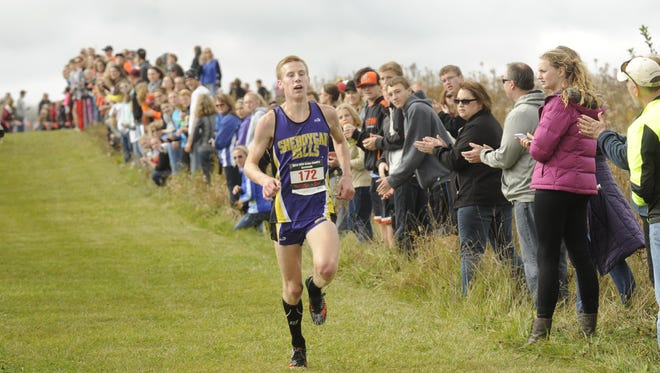 Sheboygan Falls' Clark Otte cruises to the finish line at the WIAA Division 2 sectional cross country meet at Cedar Grove on Saturday.