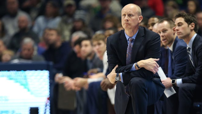 Xavier Musketeers head coach Chris Mack watches the team in the first half during the college basketball game between the Colorado Buffaloes and the Xavier Musketeers, Saturday, Dec. 9, 2017, at Cintas Center in Cincinnati.