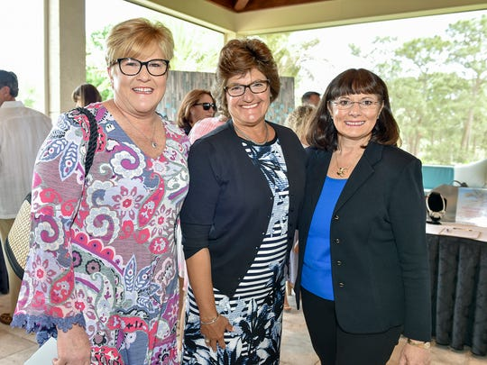 Bonney Johnson, left, Rosemary Crandall, and Deb Duvall at the Sea of Hope Luncheon March 29 at Willoughby Golf Club.