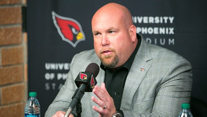 Arizona Cardinals GM Steve Keim discusses possible draft picks at their training facility in Tempe on Wednesday, April 22, 2015.