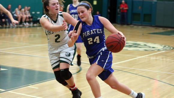Brewster defeated Pearl River 43-41 in girls Section 1 playoff action at Brewster High School Feb. 16, 2018.