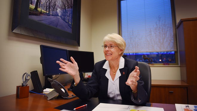University of South Dakota medical school Dean Mary Nettleman talks about a recent award the school won Friday, Oct. 27, at her office in Sioux Falls.