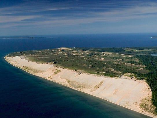 Aerial view of Sleeping Bear Dunes